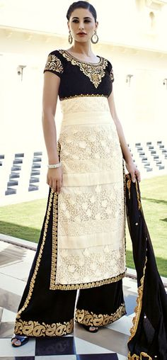 Palazzo Indian Suits | Charismatic Cream n Black Palazzo Pants Suit