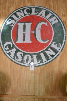 "Vintage Sinclair H-C Gasoline Sign - 48"" in diameter - Some Rust - http://comasmontgomery.com/index.php?ap=1&pid=40645"