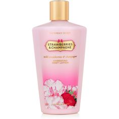 Victoria's Secret Strawberries & Champagne Hydrating Body Lotion ($5) ❤ liked on Polyvore featuring beauty products, bath & body products, body moisturizers, berries, fantasies, fragrance, red, strawberries, body moisturizer and victoria's secret