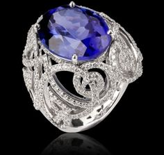 13.45 carat oval Tanzanite, diamond and white gold.  From Garrard of Mayfair, the worlds oldest jewelry store.  Where Princess Diana bought by tessa