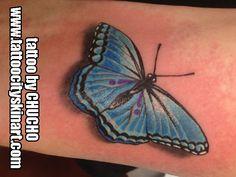 blue butterfly 3D color tattoo by Chucho. Tattoo City Skin Art. Lockport, IL www.tattoocityskinart.com