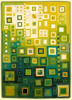 Ellin Larimer: Fiber Artist - Transitions and Other Series Toller grüner Quilt mit Lichtpunkt! Quilting Projects, Quilting Designs, Quilt Modernen, Green Quilt, Log Cabin Quilts, Contemporary Quilts, Scrappy Quilts, Art Plastique, Square Quilt