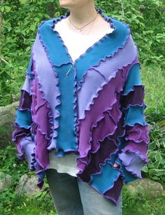 dragonfly wings short kimono wrap sweater, light/mid weight, vegan, recycled, upcycled clothing, pixie, gypsy, purple, lilac, lavender, teal. $74.00, via Etsy.