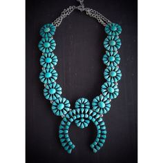 """Turquoise Beaded Tribal Squash Blossom Necklace Brand new turquoise & Silver beaded faux squash blossom Necklace. Measures 18"""" with 3"""" extender. Jewelry Necklaces"""