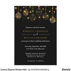 Luxury Elegant Modern Holiday Gold Black Baubles Invitation Wedding Invitations With Pictures, Luxury Wedding Invitations, Custom Invitations, Party Invitations, Wedding Stationery Inspiration, Christmas Wedding, Celebrity Weddings, Paper Design, Black Gold