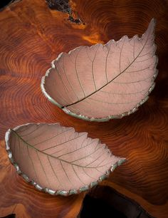 Pair of American Elm Leaves in stoneware; available on Etsy.