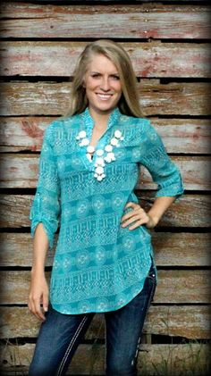 Aztec Turquoise Blouse - the color to wear when leaving a vacation in Florida.....