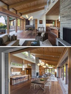 A Contemporary Family Retreat Designed For The Berkshire Mountains The dining room in this modern house, has a dark wood table and light wood chairs, and is anchored in the open floor plan by a chandelier. Modern Wood House, Modern House Design, Modern Room, Wood House Design, Passive House Design, Tropical House Design, Modern House Floor Plans, Modern Lake House, Modern Mountain Home