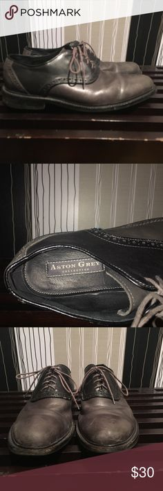 Aston Gray Oxford Black and Tonal Grey Leather Oxfords. Aston Grey Shoes Oxfords & Derbys