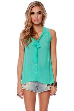 It's a Tie Sleeveless Button Down Shirt in Emerald $25 at www.tobi.com
