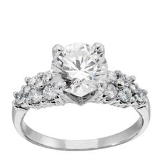 14K White Gold 0.84 ct Round Brilliant Cut Lab Created Engagement Ring $745