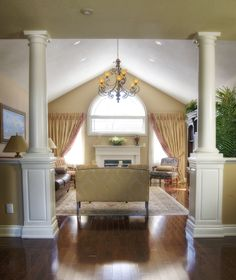 Our interior wood columns can be used purely for decorative purposes or for their structural load bearing capabilities. They are true to the classical orders of architecture that architects and builders are looking for to meet their design needs. Floor Colors, House Colors, Support Columns, Interior Columns, Wood Columns, Separating Rooms, Half Walls, Villa Design, Interior Decorating