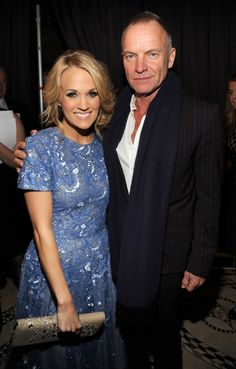 Honoree Carrie Underwood catches up with Sting backstage at T.J. Martell Foundation's 38th Annual Honors Gala on Oct. 22 in New York