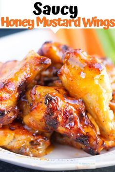 Saucy Honey Mustard Chicken Wings - My Forking Life - - These honey mustard wings are the perfect appetizer for any occasion. Nice and crispy and covered in a delicious honey mustard sauce. Creamy Honey Mustard Chicken, Honey Chicken Wings, Honey Mustard Recipes, Honey Mustard Glaze, Honey Recipes, Oven Fried Chicken Wings, Sauce For Chicken Wings, Fried Wings Recipe, Honey Mustard Wings