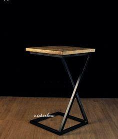 尼克卡樂斯 ~工業風實木台面X型邊桌 小茶几 展示桌 矮桌 小餐桌 床頭櫃 床邊桌 沙發邊几 床邊邊几