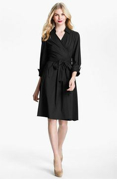 Donna Ricco Collared Fit & Flare Wrap Dress available at #Nordstrom