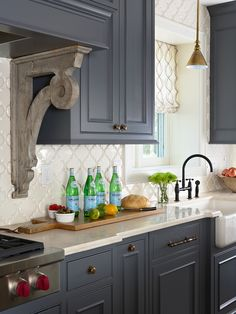 Lovely dark gray cabinets.  4x4 tile on the diamond adds great interest.
