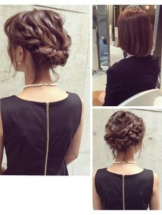 Braided hairstyles are all the rage right now. Braidmaids Hairstyles, Lob Hairstyle, Short Hair Updo, Braided Hairstyles, Wedding Hair And Makeup, Hair Makeup, Medium Hair Styles, Curly Hair Styles, Hair Upstyles