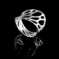 silver 1-layer twist ring by Nervous System