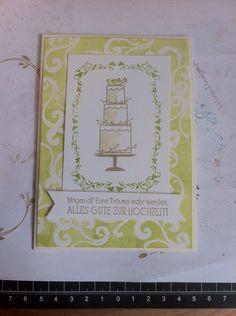 """Hochzeitkarte mit dem Set """"Perfekter Tag"""" in den Farben Farngrün und Savanne"""