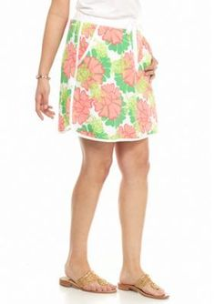 crown  ivy  beach  Plus Size Water Lily Print Skort
