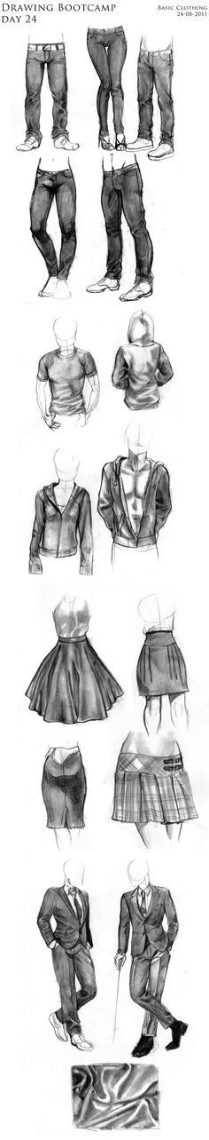 24-08-2011. How to draw Basic Clothing- Tshirt, Jeans, skirt,jacket, tuxedo, clothes fold by Kayla0.deviantart.com