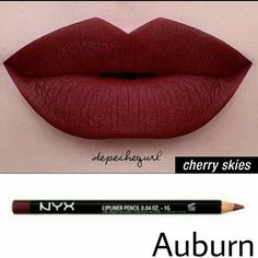 NYX Lip Bundle NYX Liquid Suede- Cherry Skies  NYX Slim Lip Pencil- Auburn NYX  Makeup Lipstick