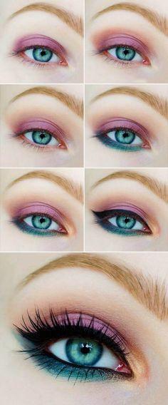 Tutorial de maquillaje de ojos en color rosa con verde