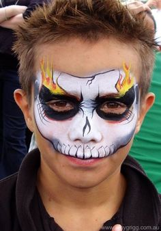 cool skull idea with the flames! i bet the boys will request this one a lot! (Cool Paintings Face)