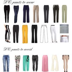 "Pants for Dramatic Classic by wichy on Polyvore | NOTE: As a DC, I love these selections of pants, except the skinny pant, unless worn with knee-high boots. DC should wear straight-leg pants that are femininely tailored with a nod to traditional menswear. Such pants will be fitted (not skin tight) through the thighs. Kibbe wrote, ""The pants should be clean, sleek, and elegant."""