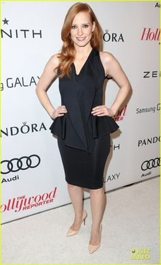 Jessica Chastain in a Herve L. Leroux dress and Christian Louboutin shoes.