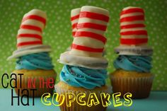 Cat in the hat #Cupcakes #drseuss