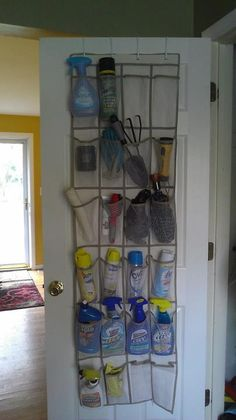 I just did this in my broom closet to save space and keep things organized.  I love it!