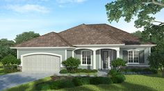 Home Plan HOMEPW75167 - 1872 Square Foot, 3 Bedroom 2 Bathroom + French Country Home with 2 Garage Bays | Homeplans.com