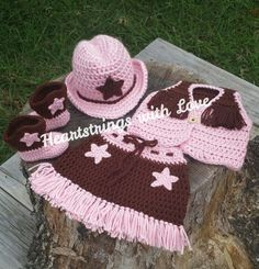 Crocheted Newborn Cowgirl Set! Crocheted Cowgirl Hat, Crocheted Cowboy Boot/Booties, Crocheted Skirt and Vest!