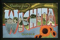 Large Letter linen Vintage postcard Wichita, Kansas KS Kropp
