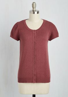 Leave Knit to Me Cardigan in Tuscan Red. Friends can always count on you to create cute ensembles, and you uphold your darling reputation in this short-sleeved cardigan! #red #modcloth