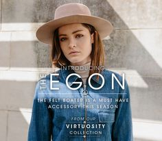 The Egon Felt Boater by Ace of Something Boater, Must Haves, Felt, Denim, Lady, Jackets, Collection, Fashion, Down Jackets