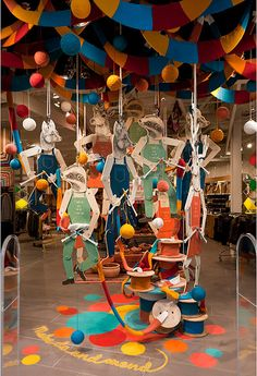 Sportsgirl Make do and Mend Installation, Chadstone Shopping Mall, Melbourne May 2011  Installation concept by Gloss Creative.   Photography: Marcel Aucar   Animal Illustrations: Chantel de Sousa #craft #shop window #illustration