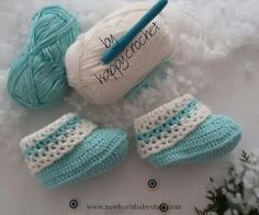 """Crochet Baby Booties Baby booty and pattern by """"happy.cochet"""" Ashley Yo..."""