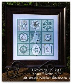 Stampin' Up! ... handmade shadowbox from Stamp and Sew For Fun ...any four of the squares would make a pretty monochromatic card ... cute!