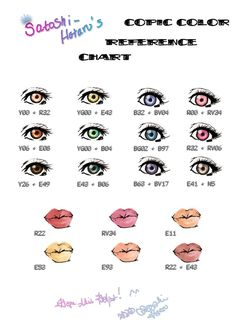 Copic eye and lip color chart. Copic eye and lip color chart. Copic Kunst, Copic Art, Copic Sketch, Copics, Prismacolor, Copic Markers Tutorial, Spectrum Noir Markers, Coloring Tutorial, Poses References