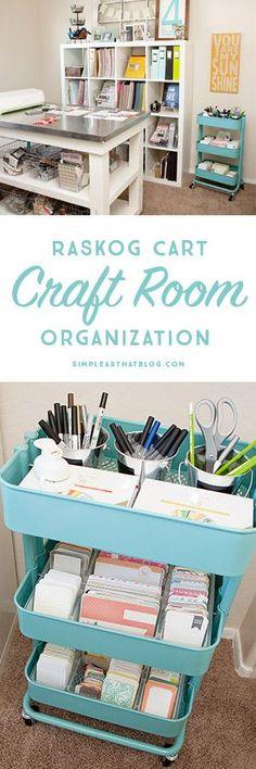 Ikea Raskog Home Kitchen Storage Utility Cart Turquoise Scrapbook Room Organization, Office Supply Organization, Craft Organization, Organizing Tips, Cleaning Tips, Craft Room Decor, Craft Room Storage, Storage Ideas, Craft Rooms