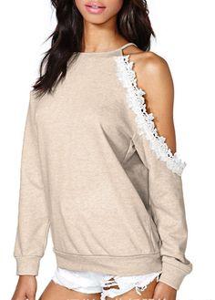 wholesale Stylish Lace Splicing One Shoulder Off Women T Shirt
