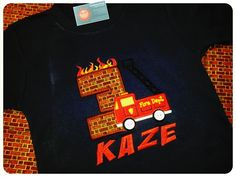 Firetruck Birthday Shirt with Firetruck, Burning Number and Embroidered Name by SunbeamRoad on Etsy https://www.etsy.com/listing/194089164/firetruck-birthday-shirt-with-firetruck