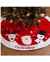 Personalized Christmas Tree Skirt - Santa, Reindeer & Snowman
