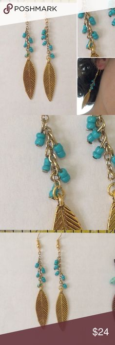 long gold leaf earrings turquoise beads Gold colored earrings and gold leaves with turquoise mini beads. Beautiful long dangling necklace. New and never used Jewelry Earrings