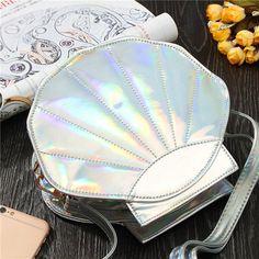 Women Girl Laser Shell Satchel Handbag Lovely Casual PU Leather Shoulder Bag