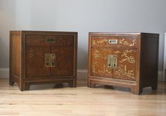 Pair of Chinoiserie End Tables with Campaign style by ExeterFields, $395.00