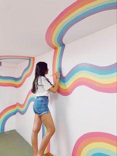 Rainbow Room, Rainbow Wall, Bedroom Colors, Home Decor Bedroom, Pastel Room, Colourful Living Room, Striped Walls, Mural Wall Art, Room Goals
